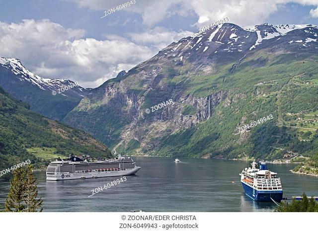 Geirangerfjord with cruise ship