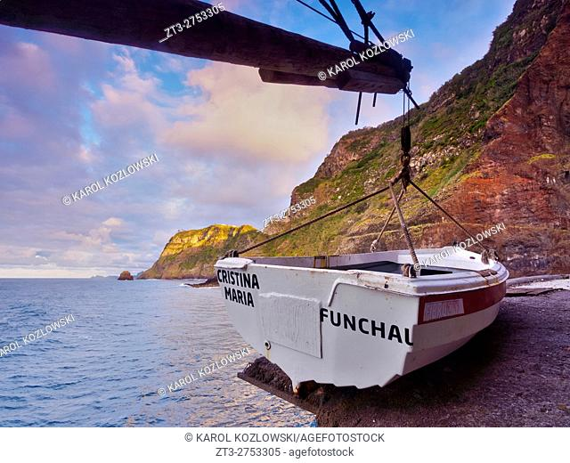 Portugal, Madeira, Fisherman boat on the cliffs of Sao Jorge.