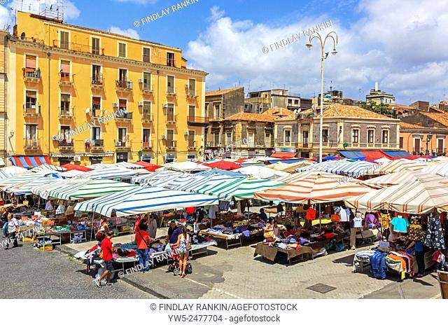 Open air street market, Catania, Sicily, Italy