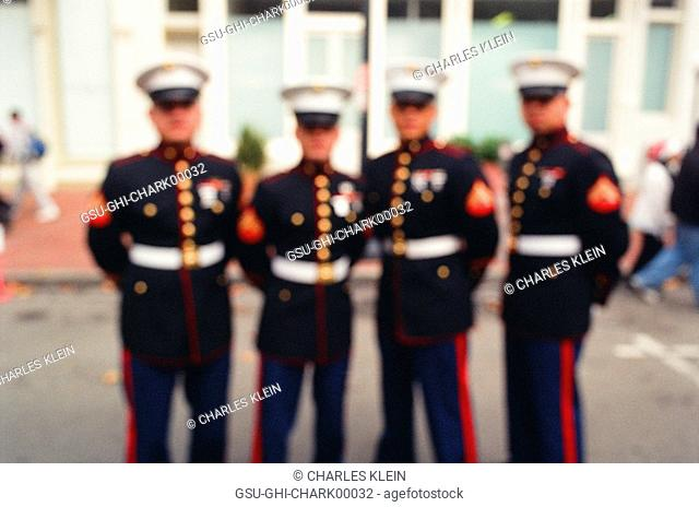 US Marine Corps Soldiers in Formal Dress Blue Uniforms