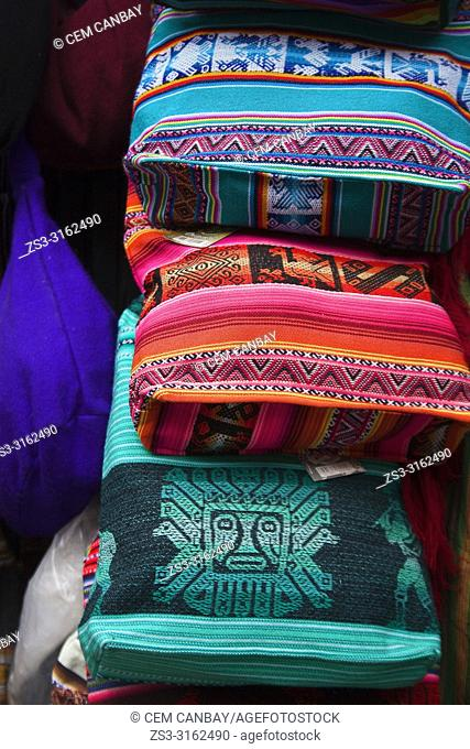 Traditional bags with indigenous motifs for sale at the shop, La Paz, Bolivia, South America