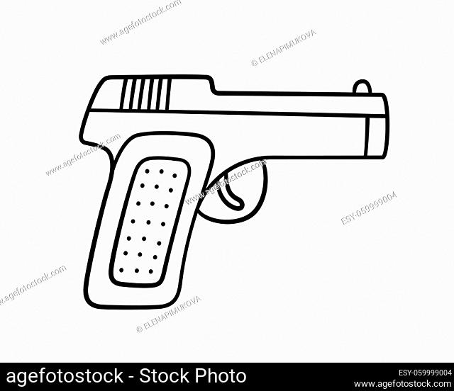 Hand drawn gun. Children drawing of combat pistol. Vector illustration in doodle style on white background