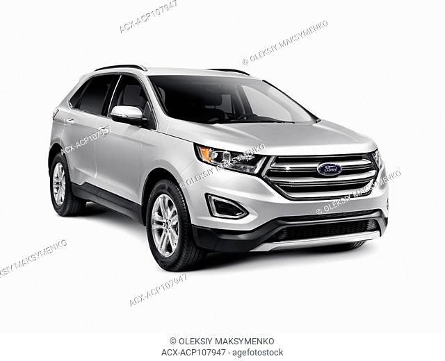 Silver 2016 Ford Edge Sport car SUV crossover vehicle isolated on white background with clipping path