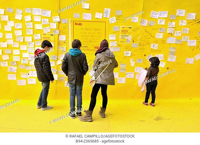Wall of wishes, Igualada, Anoia, Barcelona province, Catalonia, Spain