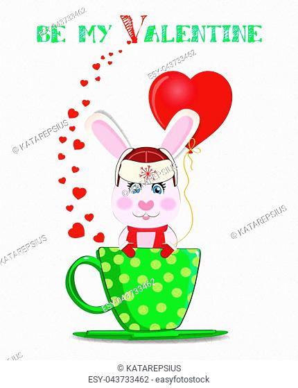 Be my Valentine card with cute cartoon bunny in hat with ear flaps, scarf and mittens holding red heart balloon, sitting in green cup with polka dots and hearts...