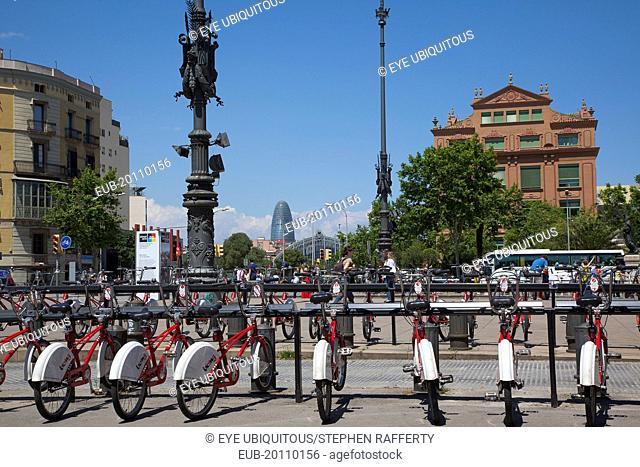 Parc de la Ciutadella, public hire bicycles next to Arc de Triomf