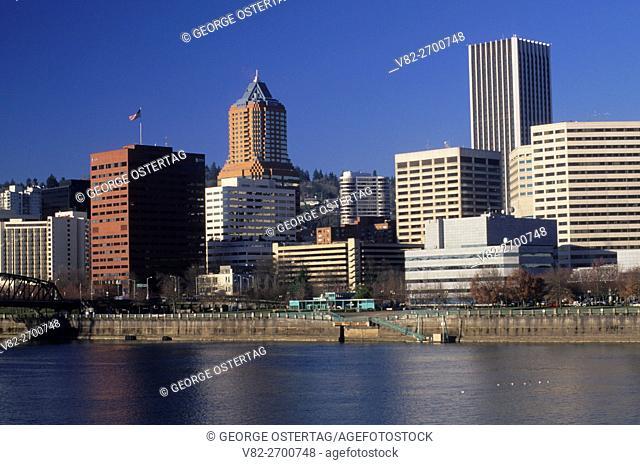 Downtown from Morrison Bridge, Portland, Oregon