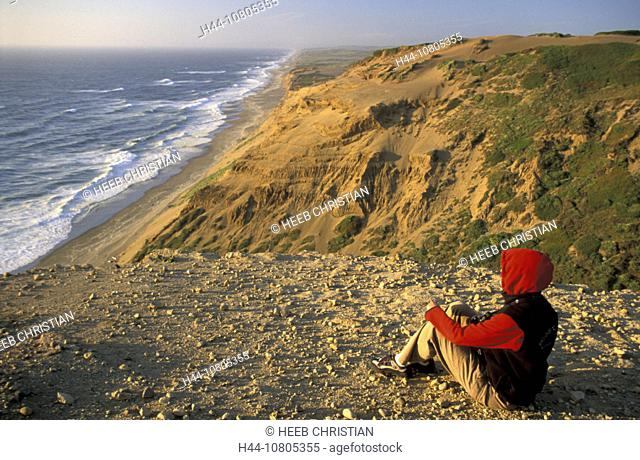 California, Coastline Point Reyes National Seashore, USA, America, United States, woman, sitting, coast, landscape