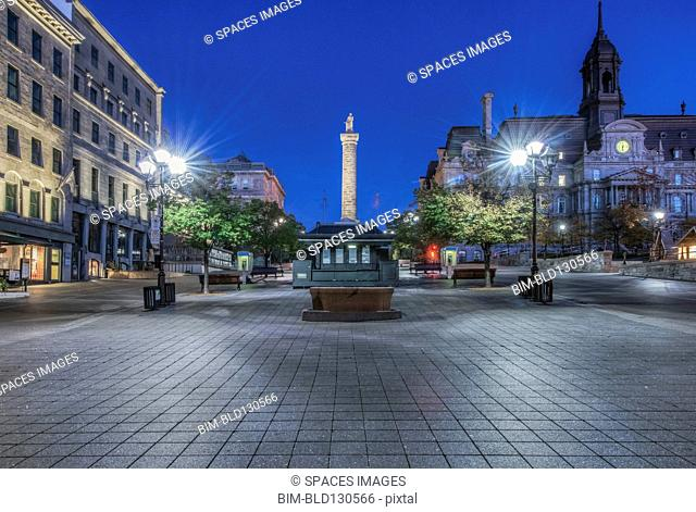 Monument overlooking town square, Montreal, Quebec, Canada