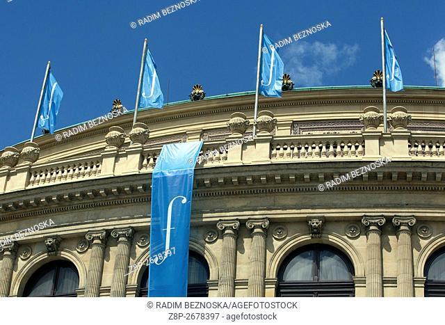 The Rudolfinum, a music auditorium on Jan Palach Square in Prague, Czech Republic