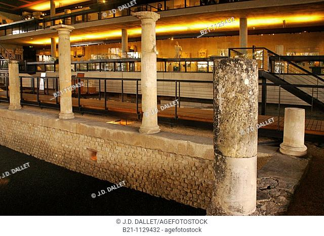 Reconstruction of a 'domus', Gallo-Roman archaeological site and museum, Perigueux, Dordogne, Aquitaine, France