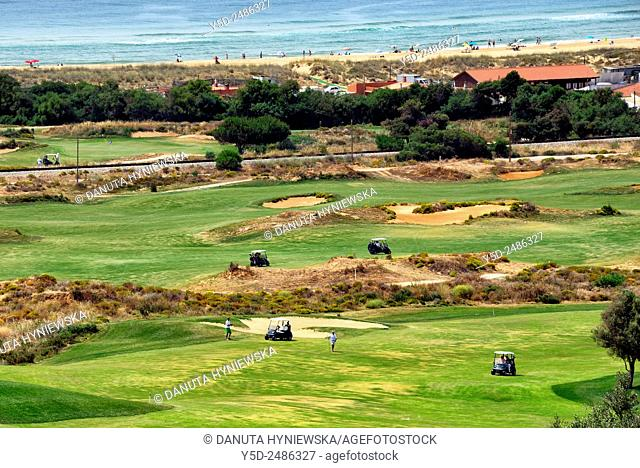 Europe, Portugal, Algarve, Faro district, Lagos, Onyria Palmares Golf Course located near Lagos, laid out on the side of a south-facing hill overlooking the Bay...