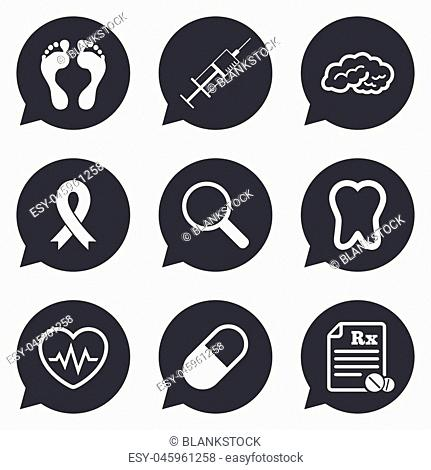 Medicine, medical health and diagnosis icons. Syringe injection, heartbeat and pills signs. Tooth, neurology symbols. Flat icons in speech bubble pointers