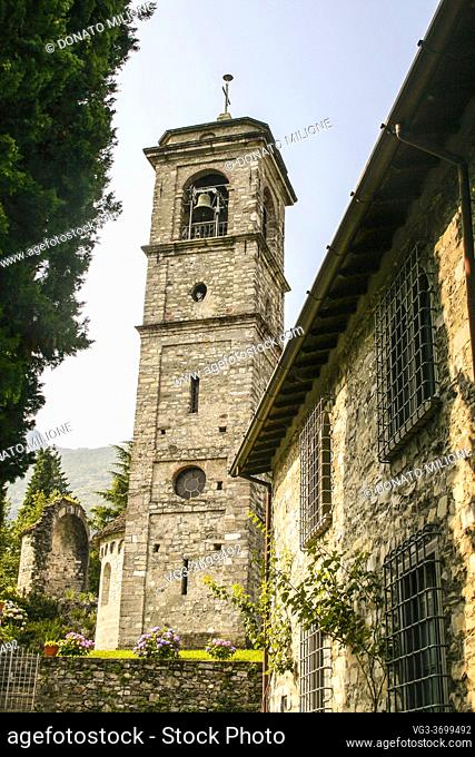 Piona, Colico, Province of Lecco, region Lombardy, eastern shore of Lake of Como, Italy. . The church of San Nicola, inside the complex of the Cistercian Abbey...