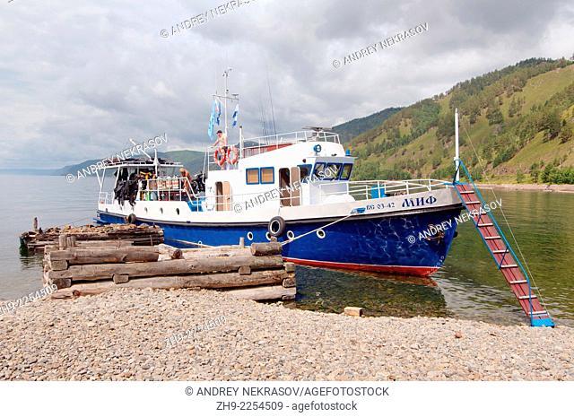 "Dive boat """"Mif"""" (eg. Myth). Lake Baikal, Siberia, Russia, Eurasia"
