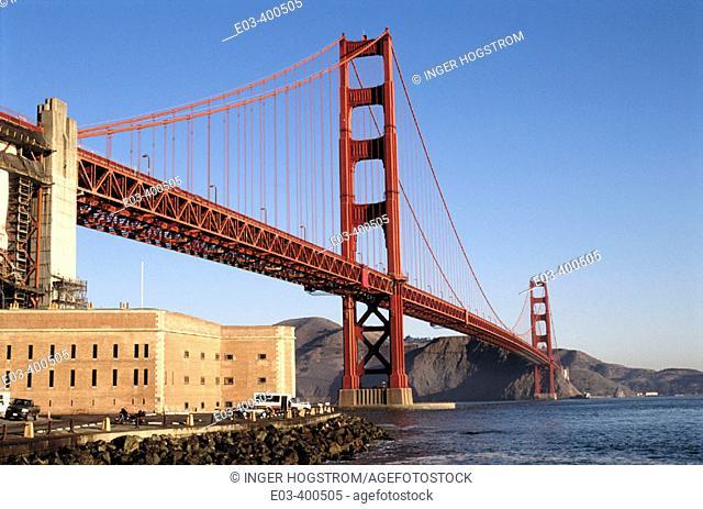 Golden Gate bridge from Fort Point. Golden Gate National Recreation Area. California. USA
