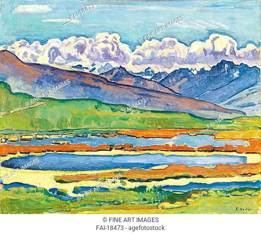Etang long Crans-Montana. Hodler, Ferdinand (1853-1918). Oil on canvas. Art Nouveau. 1915. Private Collection. 65x80. Painting