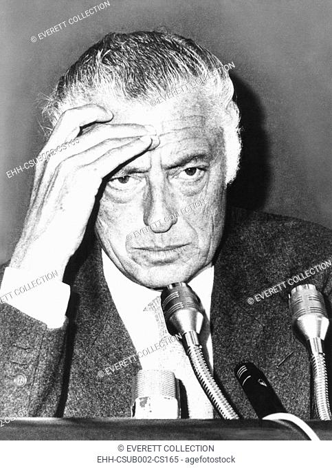 Giovanni Agnelli, President of the Fiat Auto Company, at a Rome press conference, Oct. 14, 1975. Agnelli reported on his recent trip to Beijing, China