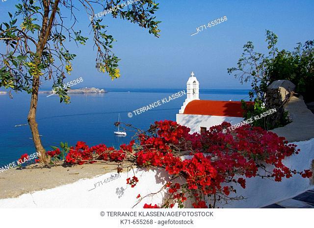 A small seaside church in Hora or Mykonos town on the Greek Island of Mykonos, Greece