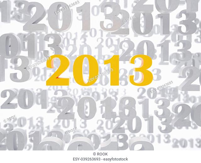 New 2013 year card. High resolution image. 3d rendered illustration