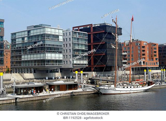 The traditional ship boat harbor in the HafenCity district of Hamburg, Germany, Europe