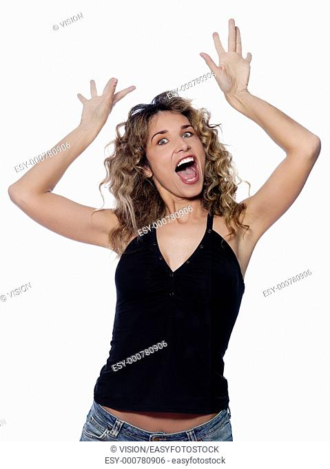 beautiful caucasian woman crazy gesture portrait isolated studio on white background