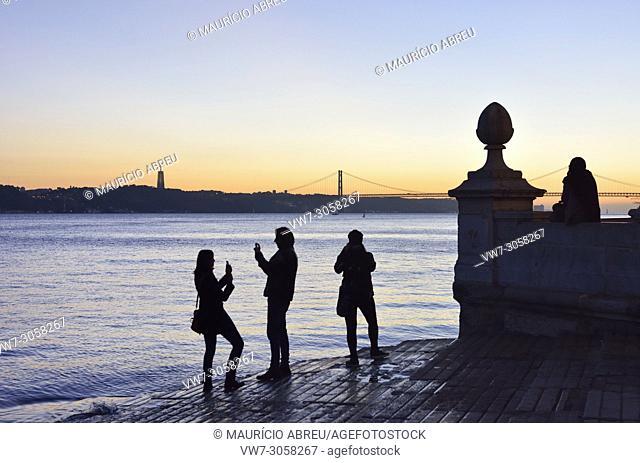 The Tagus river and Cais das Colunas at sunset. Lisbon, Portugal