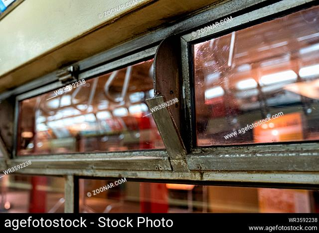 Brooklyn NY - USA - Jul 9 2019: Vintage subway train car in New York Transit Museum located in downtown Brooklyn