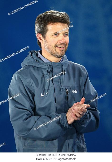 Crown Prince Frederik of Denmark attends the medal ceremony for the Women and Men Mixed Relay at the Sochi 2014 Olympic Games, Sochi, Russia, 20 February 2014
