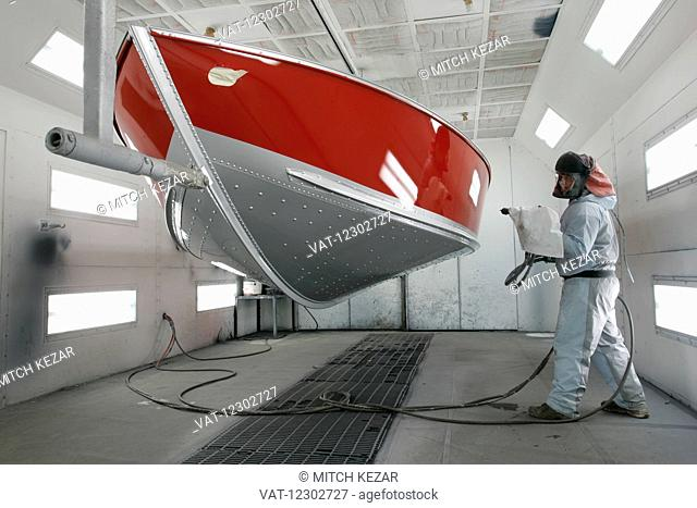 Boat Being Painted In Boat Factory