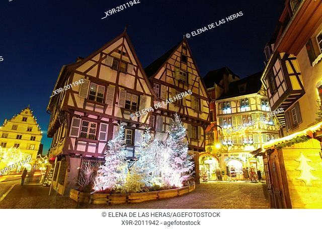 Christmas lights at the city center by night. Colmar. Wine route. Haut-Rhin. Alsace. France