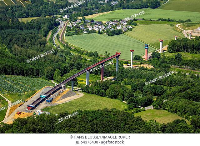 Aerial view, road construction, A46, Bestwig and Olsberg, motorway bridges, Sauerland, North Rhine-Westphalia, Germany