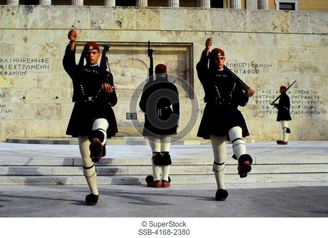 Greece, Athens, Tomb Of The Unknown Soldier, Changing Of The Guard Ceremony