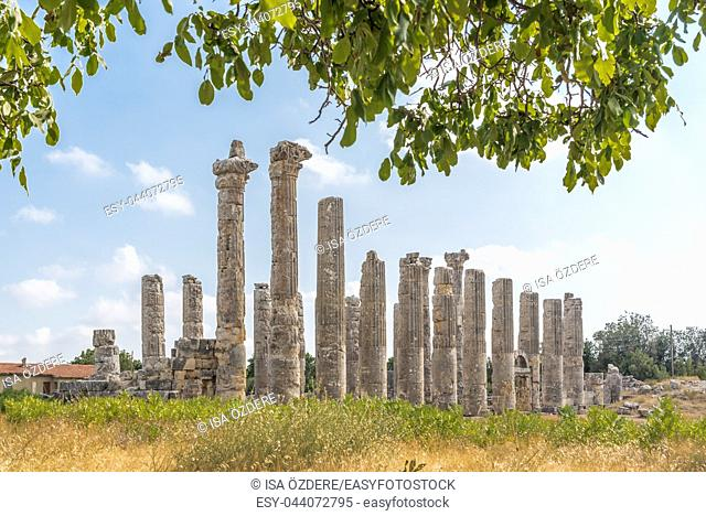 With blue sky,Marble columns of Zeus temple at Uzuncaburc Ancient city located in Uzuncaburc,Silifke,Mersin,Turkey
