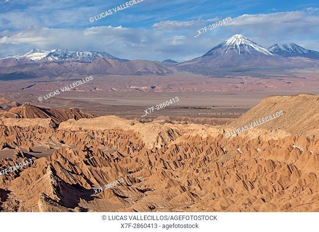Valle de la Muerte (Valley of the Death), in background at right volcanoes Licancabur y Juriques, Atacama desert. Region de Antofagasta. Chile