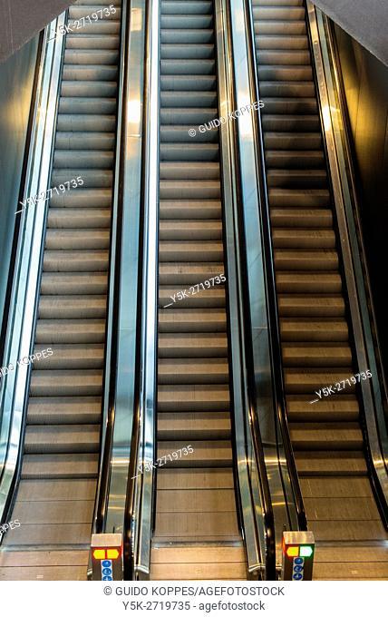 Rotterdam, Netherlands. Escalators to a platform inside Grand Central Station