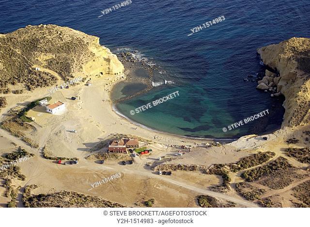 Aerial view of Cala Cocedores, Aguillas, Almeria
