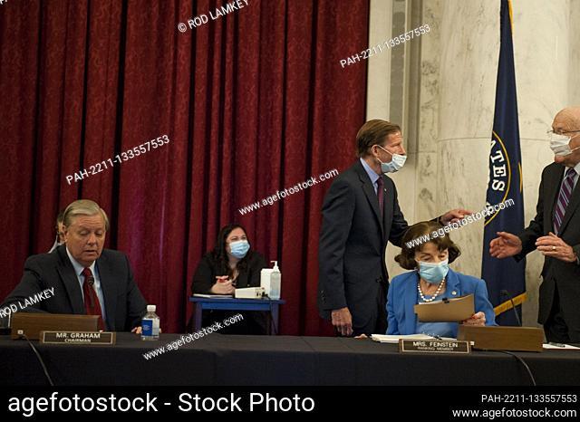 United States Senator Lindsey Graham (Republican of South Carolina), Chairman, US Senate Judiciary Committee, left, US Senator Richard Blumenthal (Democrat of...
