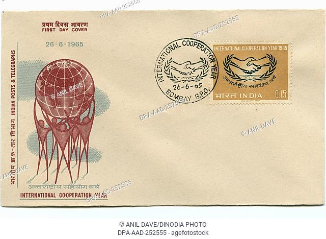 First day cover of international cooperation year, india, asia