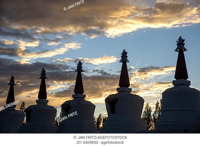 silhouettes of stupas at Thiksey monastery in Ladakh, India