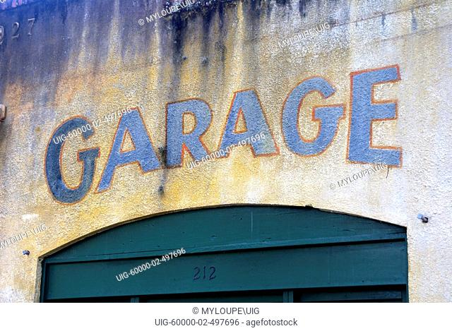 Beautifully aged and textured garage wall in historic Micanopy, Florida