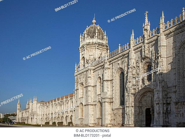 Jeronimos Monastery under blue sky, Lisbon, Extremadura, Portugal