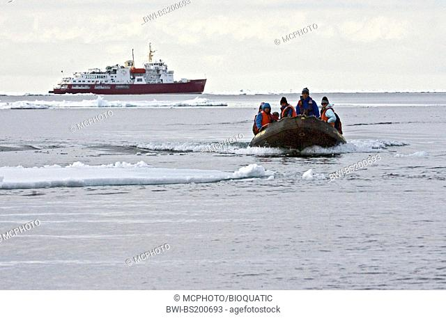 eco-tourists prepare to land on pack ice on an Arctic expedition with the vessle Polar Star in June 2008, Norway, Svalbard
