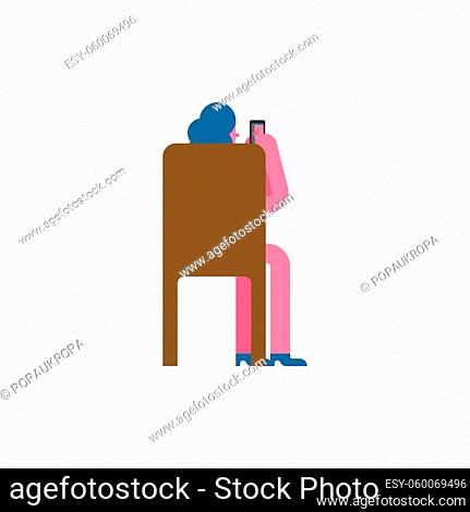 Woman sitting on chair back isolated. Vector illustration