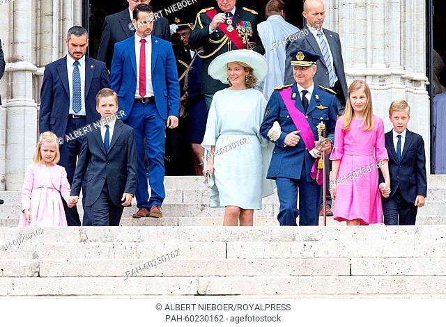 (L-R) Princess Eleonore, Prince Gabriel, Queen Mathilde of Belgium, King Philippe of Belgium, Crown Princess Elisabeth and Prince Emmanuel walk together after...