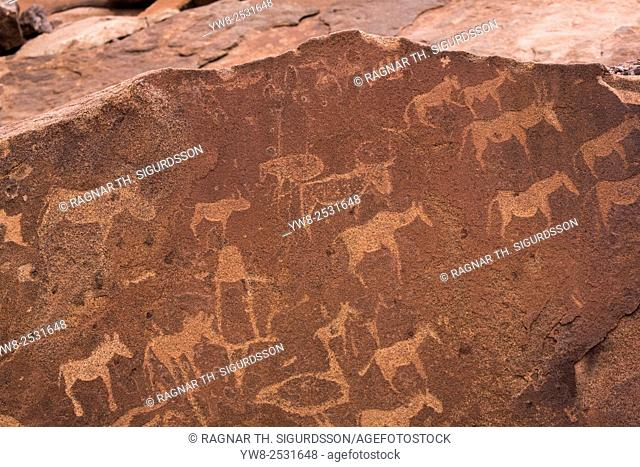 Petroglyphs or rock engravings, Twyfelfontein, UNESCO World Heritage Site, Namibia, Africa