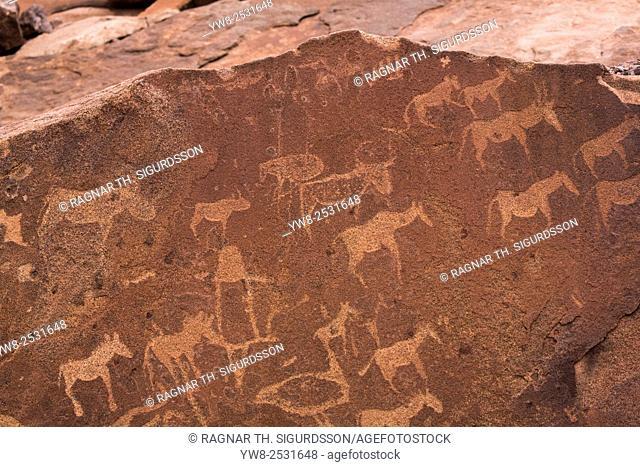 Petroglyphs or rock engravings, Twyfelfontein, UNESCO World Heritage Site, Namibia, Africa