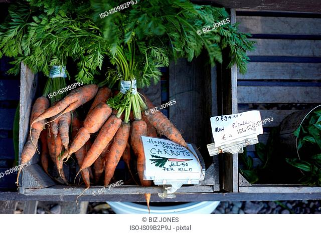 Homegrown carrots for sale, close-up, Cork, Ireland