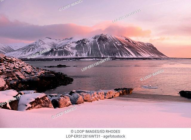 Winter sunset at Borgarnes looking towards Hafnarfjall