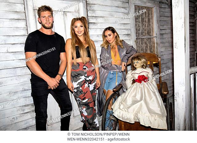 Celebrities get dolled up for a night of fright at the 'Annabelle: Creation' haunted house experience to promote the cinema release of 'Annabelle: Creation' on...